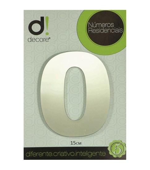 Número Residencial Alumínio Espelhado Cromado 15cm - 0
