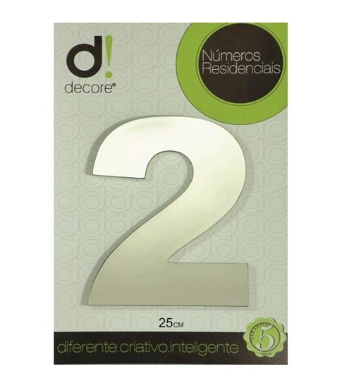 Número Residencial Alumínio Espelhado Cromado 25cm - 2