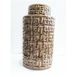 Vaso Decorativo de Cerâmica com tampa